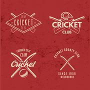 Set of Retro cricket club emblems design. Cricket logo icon design. Cricket - stock illustration