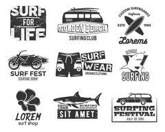 Set of Vintage Surfing Graphics and Emblems for web design or print. Surfer - stock illustration