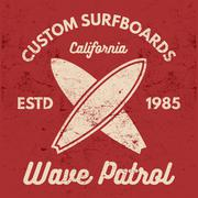 Vintage Surfing tee design. Retro t-shirt Graphics and Emblems for web design or Stock Illustration