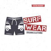 Vintage Surfing Wear stamp design. Surf Clothing shop logo. Graphics and Emblem Stock Illustration