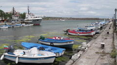 Fishing boats in the harbor of Sozopol Stock Footage