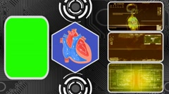 Vector Heart - Three Monitor Scanning Info - Green Screen - yellow 02 - stock footage