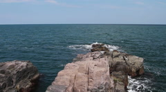 Sea rocks of Sozopol and view to Black sea waters Stock Footage