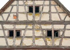 rundown old farmhouse - stock photo