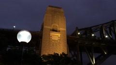Sydney Harbour Bridge at night upward view - stock footage