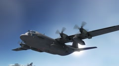 Lockheed C-130 Hercules with escort of two f 18 Stock Footage