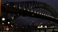 Sydney Harbour Bridge at Night Stock Footage