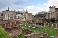 Archaeological excavations in the Roman Forum, Rome, Italy - stock photo