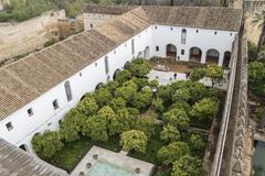 Gardens of Alcazar de los Reyes Cristianos in Cordoba, Spain - stock photo
