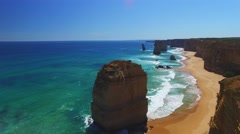 Twelve Apostles Afternoon Rocks and Waves Stock Footage