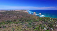 Flying to Twelve Apostles on a sunny afternoon Stock Footage