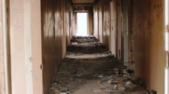 the abandoned old rooms, buildings, poverty - stock footage