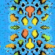 Snake skin texture. Seamless pattern blue orange green black background. Vector - stock illustration