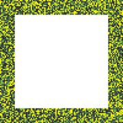 Pixel mosaic square border (frame) in acid - bright yellow and green - colors - stock illustration