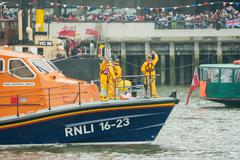 RNLI Lifeboat crew - stock photo