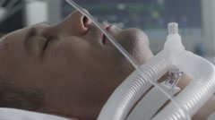 The patient in intensive care unit in the hospital Stock Footage