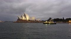 SYDNEY – NOVEMBER 2015: Sydney Opera House at night. Sydney attracts 10 million - stock footage