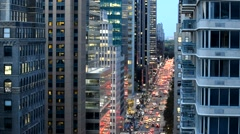 Midtown Manhattan Night Traffic Stock Footage