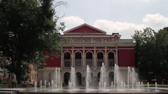 Fountain in front of Ruse State Opera, Bulgaria Stock Footage