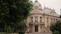 Luben Karavelov library building in Ruse, Bulgaria Stock Footage