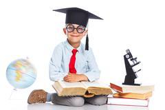 Little Professor boy - stock photo