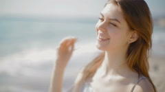 Portrait of the young girl who looks afar Stock Footage