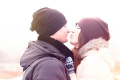 Young couple winter park, forest, kissing, love each other, happy family, idea - stock photo