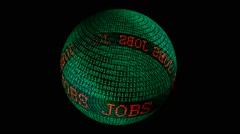 Jobs spinning globe - stock footage