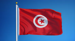 Tunisia flag in slow motion seamlessly looped with alpha - stock footage