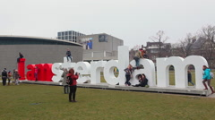 Famous Amsterdam Sign and People - The Rijksmuseum In Amsterdam Stock Footage