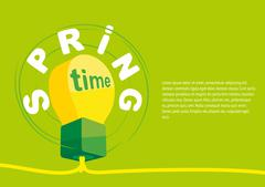 Concept of spring poster. The blank banner design layout with a lamp. - stock illustration