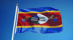 Swaziland flag in slow motion seamlessly looped with alpha Stock Footage