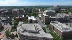 Aerial Flyover along McBee Avenue Downtown Greenville Stock Footage