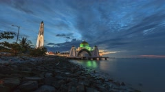 Mosque - Time Lapse of the Malacca Straits Mosque during a beautiful sunrise Stock Footage