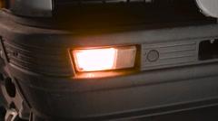 Vintage Renault 5 LeCar - front bumper blinker - stock footage