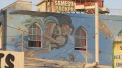 Venice beach, LA, mural art on the building Stock Footage