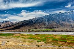 Spiti valley and river in Himalayas - stock photo
