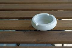 Empty white ashtray Stock Photos