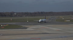 4k Lufthansa Airbus A320-200 arriving at Hamburg airport airfield Stock Footage