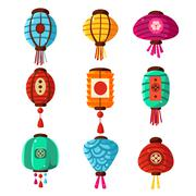 Chineese Lanters Decoration Set - stock illustration