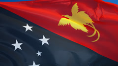 Papua New Guinea flag in slow motion seamlessly looped with alpha - stock footage