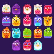 Fantasy Birds Icons Set Stock Illustration