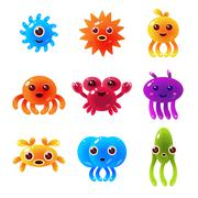 Marine Animals Balloon Characters Set - stock illustration