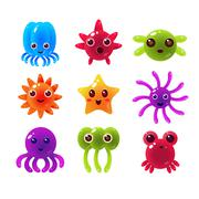 Marine Animals Balloon Characters Collection - stock illustration