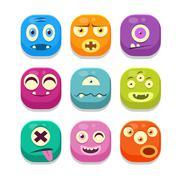 Monster Emoji Icons Set - stock illustration
