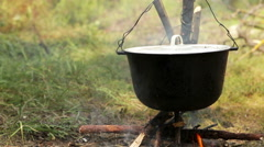 Pot of boiling Ukha (fish-soup) on the campfire - stock footage