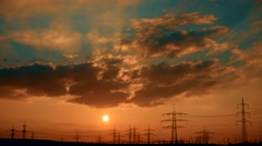 TIME LAPSE VIDEO: Impressive Sunset with utility pole Stock Footage