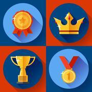 Icon set Golden victory symbols champion cup, crown, medal, badge. Flat design. Stock Illustration