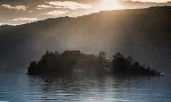 Small island, Lake Maggiore, Piedmont, Lombardy, Italy Stock Photos