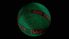 Tweet like spinning globe - stock footage